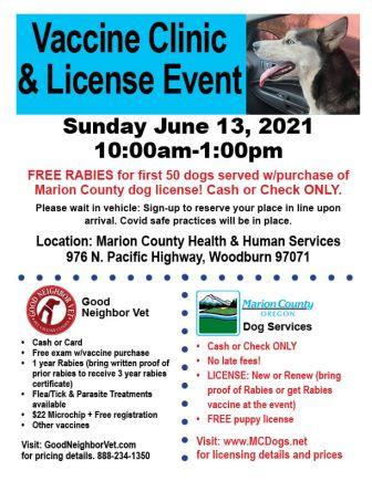 June 13, 2021 Dog License Event