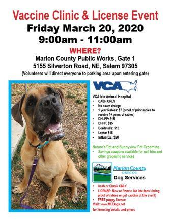 March Vaccine Clinic flyer