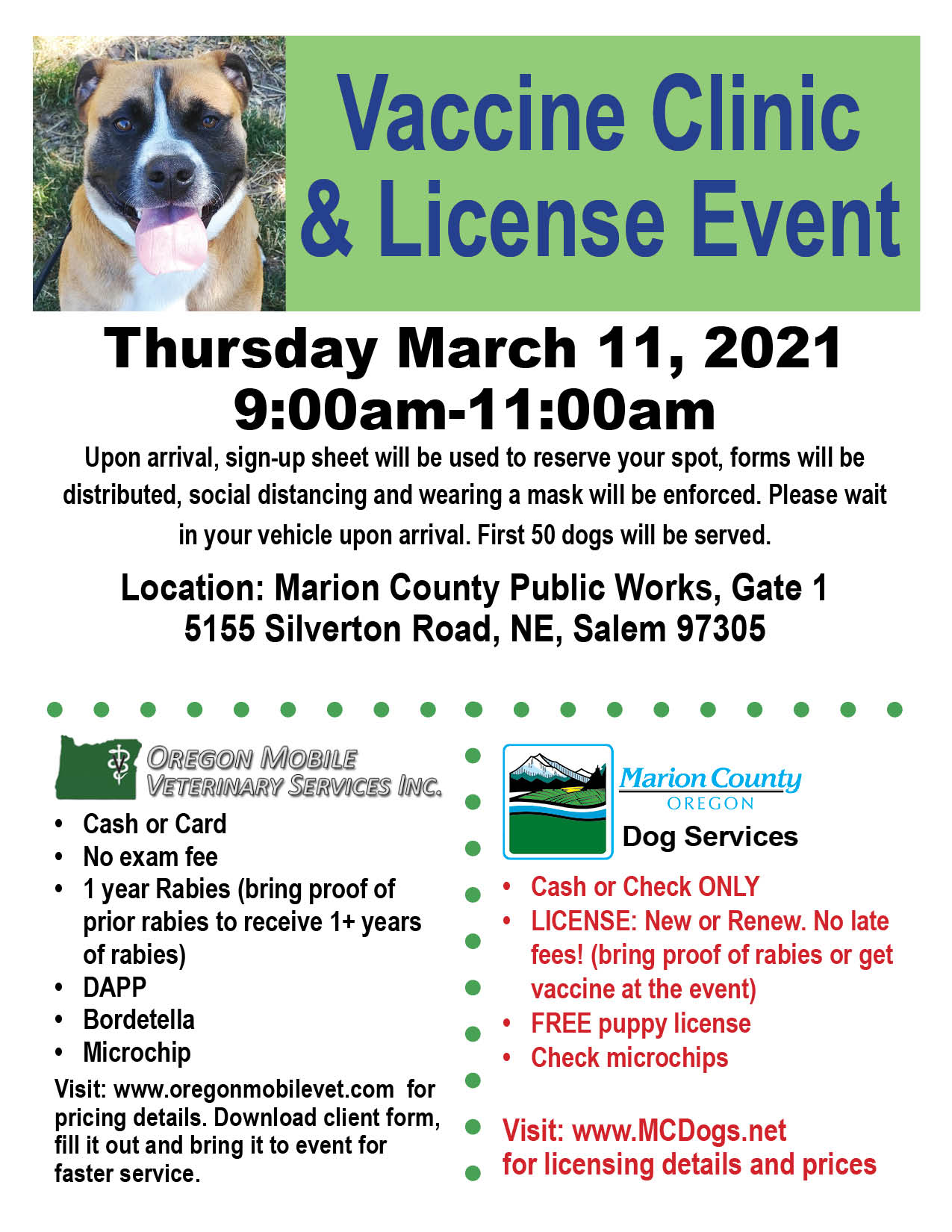Low Cost Vaccine & No Late Fee Dog License Event