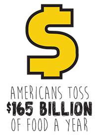 Money Symbol and statistic of food waste. Americans toss 165 billion dollars of food a year.