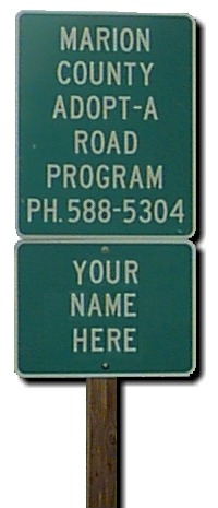 Marion County Adopt-A Road Program sign